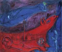 "La Bastille, 1953, oil and colored ink on canvas by Marc Chagall is part of the ""Chagall: Beyond Color"" exhibit at the Dallas Museum of Art."