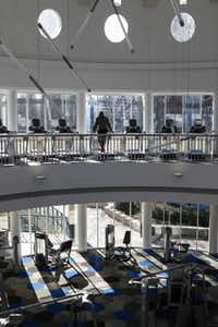 Two floors inside the rotunda have been used for exercise equipment, and a lower level houses locker and shower areas and another workout room.(Jim Tuttle - Staff Photographer)