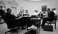 William Colby, right, director of the CIA, meets with President Gerald Ford  on a report regarding CIA activities, in the Oval office of the White House in Washington, Jan. 3, 1976. Also attending the meeting were, from left: National Security Advisor Brent Scowcroft, Counselor Phil Buchen and Counselor Jack Marsh.  The Central Intelligence Agency will make public next week a collection of long-secret documents compiled in 1974 that detail domestic spying, assassination plots and other agency misdeeds in the 1960s and early 1970s, the agencyÕs director, General Michael V. Hayden, said on Thursday.