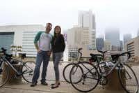 """""""We're going to do what we can with what we have to work with, and build something that's as safe as possible,"""" says Dallas bike czar Ashley Haire, with city bicycle transportation manager Jared White.( Rachel Woolf  - Staff Photographer)"""