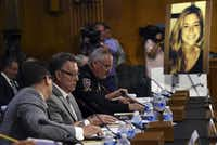Jim Steinle, second from left, testifies next to Montgomery County (Md.) Police Chief J. Thomas Manger before a Senate Judiciary hearing. Steinle's daughter, Kate (pictured at right), was killed by a man previously deported five times.(Associated Press)