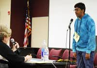 "Lokesh Nagineni, an eighth-grader at Lamar Middle School in Flower Mound, won the Denton County Spelling Bee in February by correctly spelling the word ""representative."" It marked the fourth straight year he has won the bee and advanced to The Dallas Morning News Regional Spelling Bee.(Photo by MARIO ZAVALA - Courtesy)"