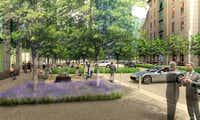 A rendering shows how the court between the Crescent office buildings and hotel will be rebuilt with landscaping and pedestrian areas.(Contributed - Crescent Real Estate)