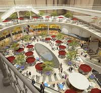 A rendering shows the retail atrium in the center of the Crescent shopping center that will be rebuilt with a large, open event space.(Contributed -  Crescent Real Estate )