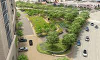 A rendering shows the new park that will be constructed on the south side of the Crescent at McKinney Avenue and Pearl Street.(Contributed -  Crescent Real Estate )