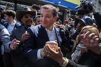 Sen. Ted Cruz of Texas, a Republican presidential hopeful, greeted supporters outside the Sabrosura 2 restaurant with state Sen. Ruben Diaz Sr. in Bronx, N.Y., last week. (Todd Heisler/The New York Times)