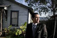 Former Crystal City mayor Ricardo Lopez, who faces federal indictment, is shown outside his home in Crystal City.(For The Washington Post)