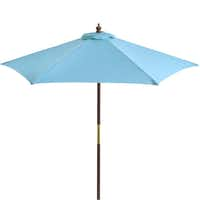 Sun shield: Keep the sun at bay with a colorfast, water-repellent outdoor umbrella with eucalyptus pole and pulley for easy opening. Assorted colors available. 7-foot umbrella $89.95; 9-foot umbrella $139.95. Poly stone base $49.95. At Pier 1 (multiple locations), and pier1.com