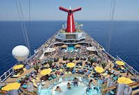 An overhead view of the adults-only Serenity area and Lido Deck aboard the Carnival Sunshine.