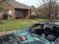 Storm damage at a home on Teakwood Drive in Wylie. (Courtesy/Cheryl R. Poldrugach)