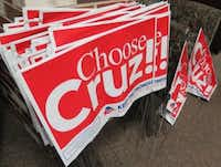 Stacks of yard signs await more than 1,000 Ted Cruz supporters at a rally Jan. 23, 2016, in Ankeny, Iowa. (staff/Todd J. Gillman)