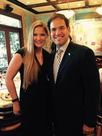 Colleen McKnight took a photo op with Florida Sen. Marco Rubio at a Houston fundraiser last fall. Colleen said Rubio appeals to her because of their similar backgrounds.