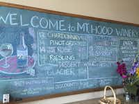 Mount Hood   Winery   displays its menu on a chalkboard. The winery is one of the stops on Un-Cruise Adventures' wine-theme cruises.(Suzanne Morphet - Suzanne Morphet)