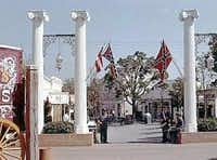 The battle flag hung at the entrance to the Confederate section (now the Old South) at Six Flags Over Texas in the early years.(Courtesy: Davis McCown)