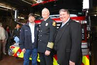 Former Wylie Mayor pro tem Rick White (from left), Corbin and Mayor Eric Hogue talk at a push-in ceremony for a Wylie Fire Rescue fire truck.(Photo submitted by JUDY TRUESDELL)