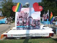 It's been a long-time tradition for Oak Lawn UMC to have a float in the Pride parade, and to have their doors open to anyone that day.( Photo courtesy of Oak Lawn UMC )