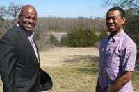 Paul Quinn College Director of Development Dennis Coleman and freshman business administration major Donovan Coleman stand on land that will be home to the college's second residence hall.(Loyd Brumfield - neighborsgo staff)