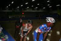 Cedar Hill inline speedskater Michael Ringer (front) leads a trio of DFW Speed team members, including Fort Worth police officer Jake Drahos during a practice at the Arlington Skatium.Submitted photo