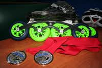 Inline skates can cost around $1,500, and that doesn't include the wheels or frames, said DFW Speed Vice President Julie Harris.(Staff photo by LOYD BRUMFIELD - neighborsgo)