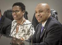 Mayor Carl Sherman (right) and City Secretary Kisha Morris at the City Council meeting in DeSoto.( Ron Heflin  -  Special Contributor )