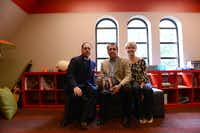 Fr. Michael Mills, grief counseling member Drew Alexandrou and counselor Catherine Miller sit in the youth room at Good Shepherd Episcopal Church where the church will soon offer a grief support group for children, teens and parents who have lost a loved one.