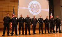On March 7, the eight officers with the Mesquite Police Department graduated from its new internal basic training academy. Mayor John Monaco helped recognize the new officers during a ceremony at the Mesquite Arts Center.(Photo submitted by WAYNE LARSON)