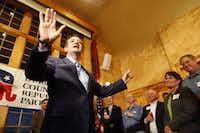Sen. Ted Cruz, R-Texas, during a Republican Party of Dubuque County reception at Park Farm Winery, in Durango, Iowa, Wednesday, April 1, 2015.  (AP Photo/Telegraph Herald, Nicki Kohl)