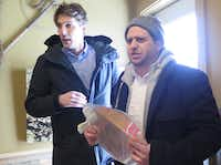 These protesters, who declined to give names, interrupted Sen. Ted Cruz at a tavern in Raymond, N.H., on Feb. 8, 2016. The man on the right pretended to retch at the senator's evil and ugliness, and they held up mirrors shouting about trying to release the demons within him. Police escorted them out.