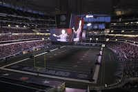 """The Dallas Opera's production of Mozart's """"The Magic Flute"""" as seen on the screens at Cowboys Stadium in 2012."""