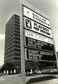 The Dallas Playboy Club at Express Tower beside Central Expressway on May 11, 1982. The Dallas Cowboys team offices were on the top floor.