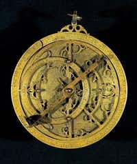A planispheric astrolabe from Spain made from cast and engraved brass is part of the new Dallas Museum of Art exhibit.(AP)