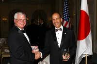 Award recipients Timothy C. Jones, left, and Ambassador John V. Roos at the 2014 Sun and Star Legacy Award Dinner at the Four Seasons Hotel in Irving.( Dana Driensky  -  Special Contributor )