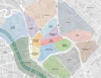 This map from the 2011 Downtown Dallas 360 plan shows the urban core neighborhoods that Downtown Dallas Inc. focuses on. (Downtown Dallas Inc.)