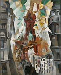 "Robert Delaunay,  Champs de Mars: The Red Tower, 1911/23,  oil on canvas.  The Art Institute of Chicago.  Joseph Winterbotham Collection   At the Kimbell Art Museum's ""The Age of Picasso and Matisse: Modern Masters from the Art Institute of Chicago"" exhibit."