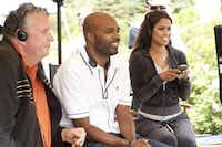 "Producer Michael Mahoney (left), director Salim Akil and producer Tracey Edmonds on the set of ""Jumping the Broom."""