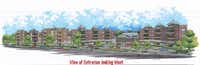An architect's rendering of the entryway to the Dallas Housing Authority's proposed Fairmount Crossing apartment complex facing Kings Road in the Love Field area.
