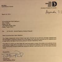 The letter from DISD to the city concerning Pie Tap and the district's opposition to the eat-n-drinkery