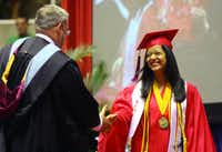 Teresa Mayela Nataly Ricardo, the valedictorian of Thomas Jefferson High's Class of 2011, was introduced by Principal Edward Conger at the school's commencement May 31.