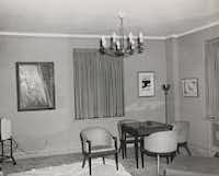 Lyonel Feininger, Manhattan II; Franz Kline, Study for Accent Grave; Morris Graves, Spirit Bird. Living area, Suite 850, Hotel Texas, Fort Worth, Thursday, November 21, 1963. Photo by Byron Scott. Dana Day Henderson and Owen Day Papers, Amon Carter Museum of American Art Archives, Fort Worth, Texas