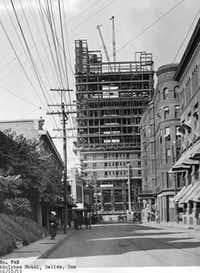The Adolphus Hotel - under construction in 1911 - cost $1.5 million to build.