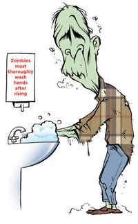 Fend off the next zombie virus (or at least the next cold) by washing your hands thoroughly. Common spaces at work or at home should be sanitized regularly, since they're often how germs are spread.(Chris Morris/Special Contributor)