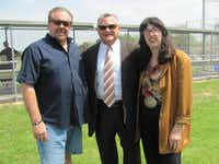 T.K. and Elizabeth Lawless, friends of Jeff Johnson (center) for decades, were with him at the dedication of Samuell's baseball field in honor of their father, coach Pete Lawless.(Facebook)