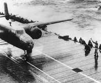 A Doolittle Raiders  B-25 bomber takes off from the flight deck of the USS Hornet for the initial air raid on Tokyo on April 18, 1942. Experts had to figure out how a fully armed bomber could take off from an aircraft carrier in a small fraction of the distance it normally used.(AP)