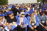 Magda Bader with other Holocaust survivors at a ceremony at Auschwitz in April 2014.( Naomi Martin  )