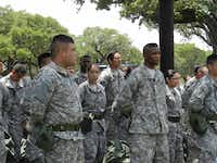Dallas ISD JROTC cadets line up during the JROTC Cadet Leadership Challenge held at Camp Bullis.Photo submitted by EDWIN DUMAS