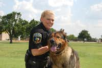 Caro, the Wylie Police Department's K-9 for the past five years, has retired after an injury. His partner, Officer Brenda Martin, says she's happy to know that he will remain in her care.( Photo by JULISSA TREVIÑO  -  neighborsgo )