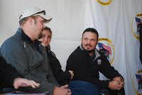 Marine Cpl. Neil Frustaglio (left) chats with Erica Phillips and Marine Cpl. Michael Fox before the start of a groundbreaking ceremony on Jan. 25 in McLendon-Chisholm. Frustaglio, who lives near San Antonio, received a home from the same nonprofit that's helping Fox.Staff photos by ANDREW SCOGGIN