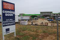 An under-construction Market Street grocery store is slated to open at the northeast corner of FM 1171 and FM 2499.