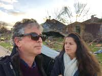 Staffers on The Watchdog desk -- Dave Lieber and Marina Trahan Martinez - visit Rowlett, Texas on Dec. 29, 2015 looking for deceptive marketing practices by contractors.
