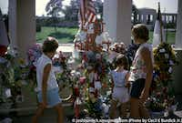 Mourners in Dealey Plaza in 1964